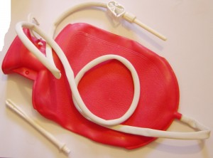 This is actually a combination douche and enema bag, a nice reminder that a douche is just an enema-- for your vag!